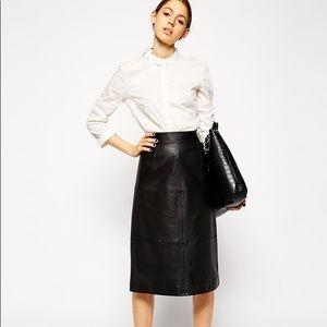 Genuine leather midi skirt